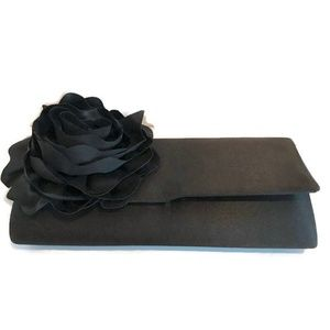 Black Satin Rose Evening Purse Clutch with Chain